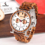 BOBO BIRD Wooden Men Watch Stainless Steel Waterproof Wristwatch with Date and Multiple Time Zone Men's Gift