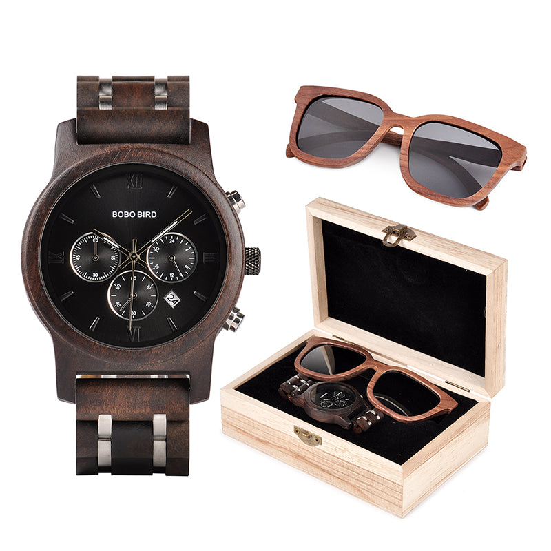 BOBO BIRD Wooden Watches Men Sunglasses in Suit Present Box Gift BoxQuartz Wristwatch Male Stopwatch Timepieces