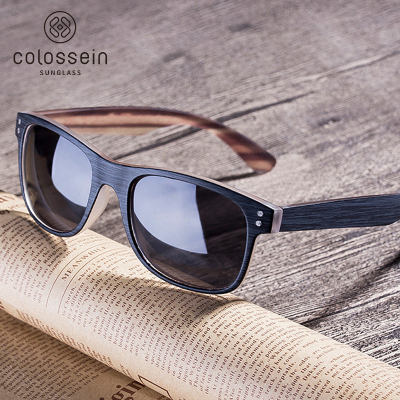 COLOSSEIN Sunglasses Men Polarized Classic New Fashion Retro Square Sun glasses Frame For Women Imitation Wood lentes de sol hom