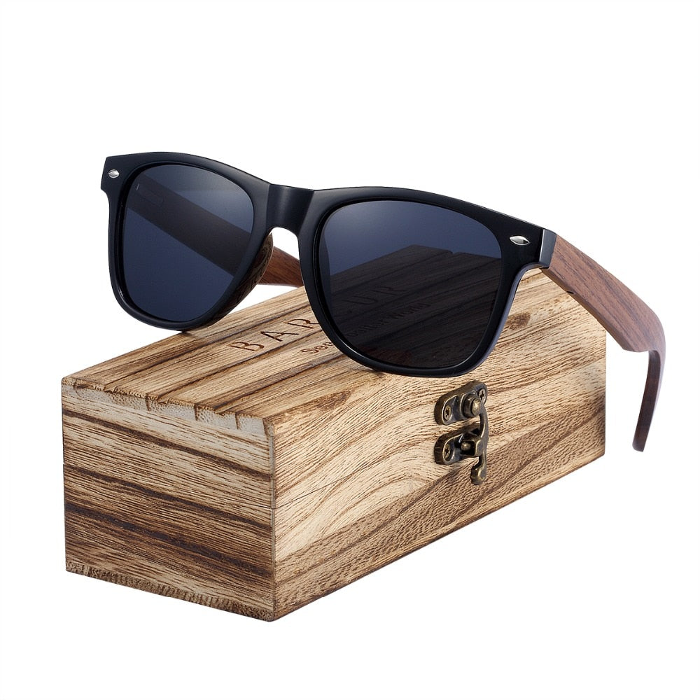 BARCUR Black Walnut Wood Polarized Sunglasses Men Glasses Men UV400 Protection Eyewear Wooden Original Box