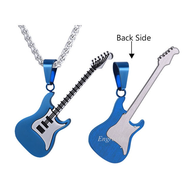 be97752f5 Electric Guitar Pendants & Necklaces Silver Color Stainless Steel For Men  Punk Rock Music Jewelry Personalized