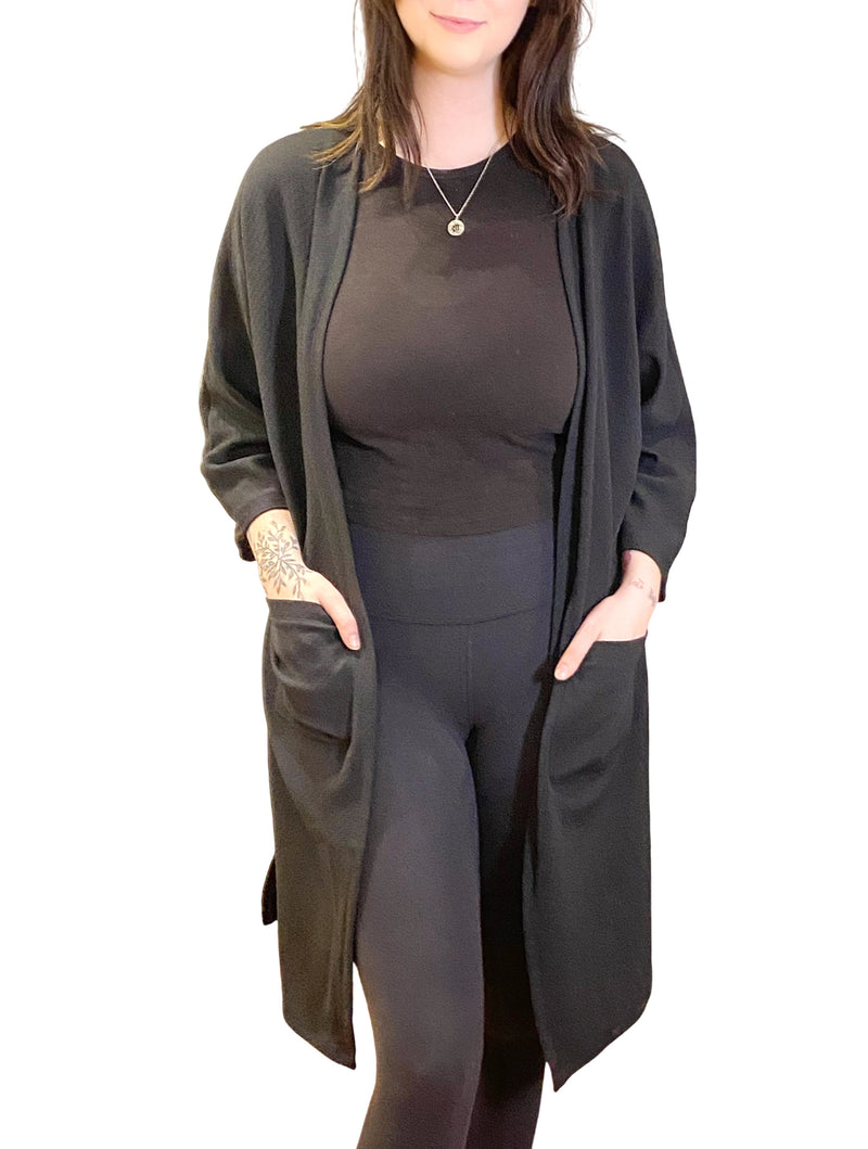 LaVieLente Women's Feeling Leave Basic Kimono With Pockets