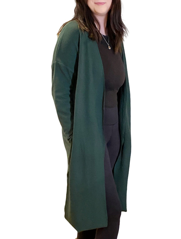 LaVieLente Women's Ever-green Cape Cardigan w/ Side-Slit