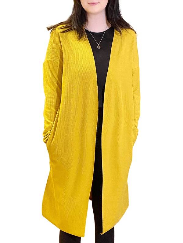 LaVieLente Women's Mustard Yellow Cape Cardigan w/ Side-Slit