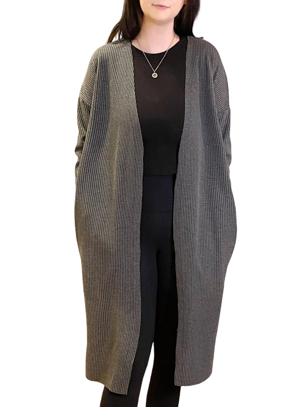 LaVieLente Women's Dark Grey Cape Cardigan w/ Side-Slit