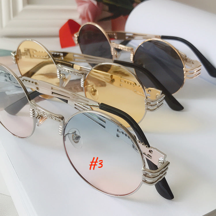 Round Steampunk Sunglasses John Lennon Hippie Glasses Metal Frame