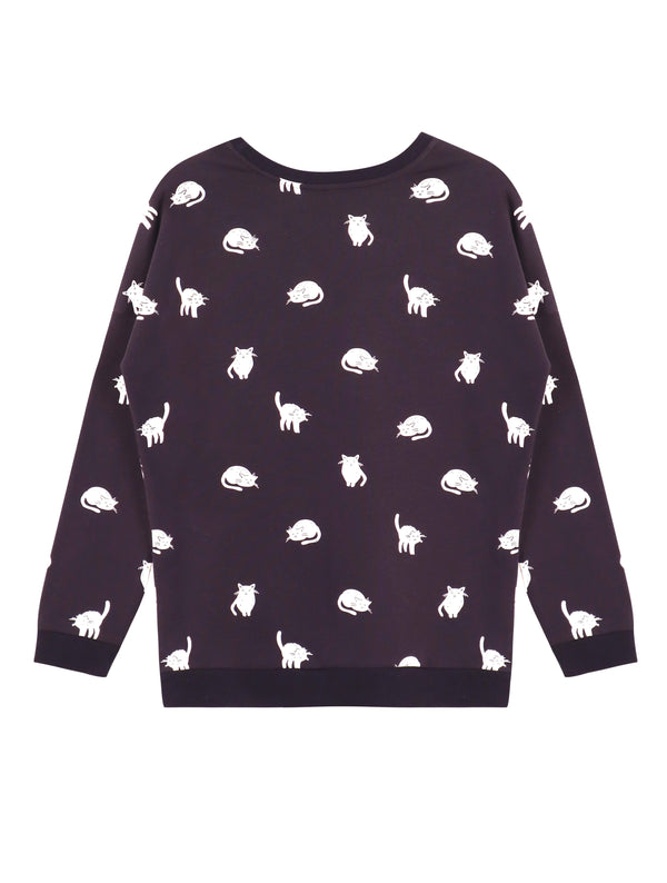 LaVieLente Women's Cotton Long Sleeve Kitten Sweatshirt Pullover