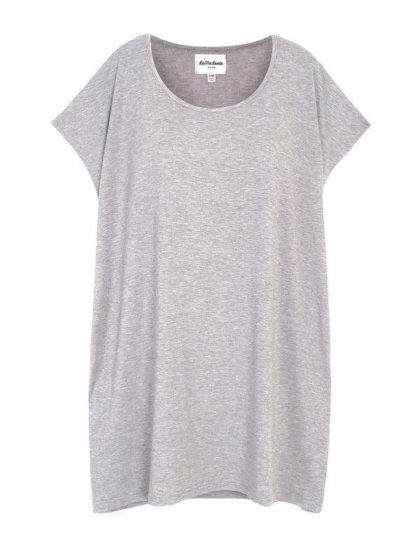 LaVieLente Women's Short Sleeve Knitted Casual Loose T-Shirt Dress with Pockets - Light Grey
