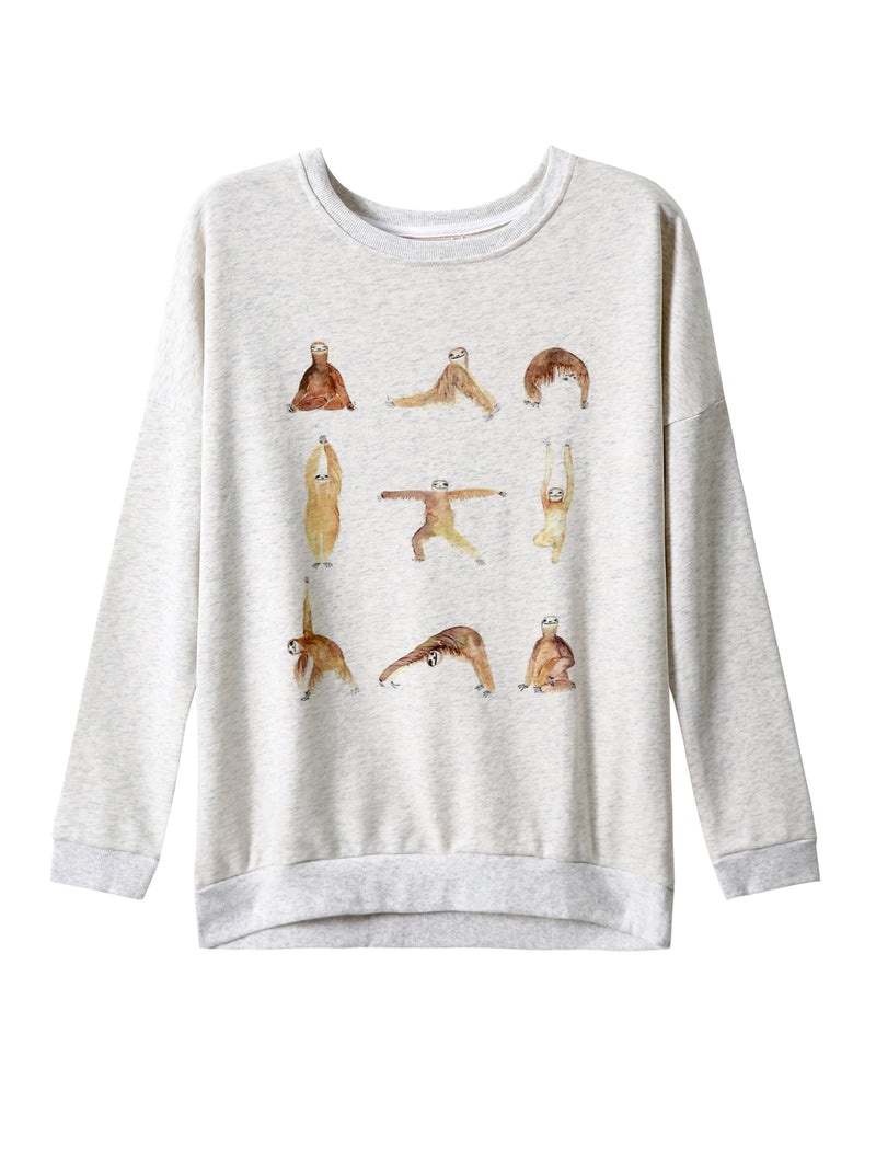 LaVieLente Women's Cotton Yoga Sloth Sweatshirt