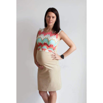 Casual Maternity Dress With Shades Of Coral And Mint Colours - Maternity & Nursing Dress