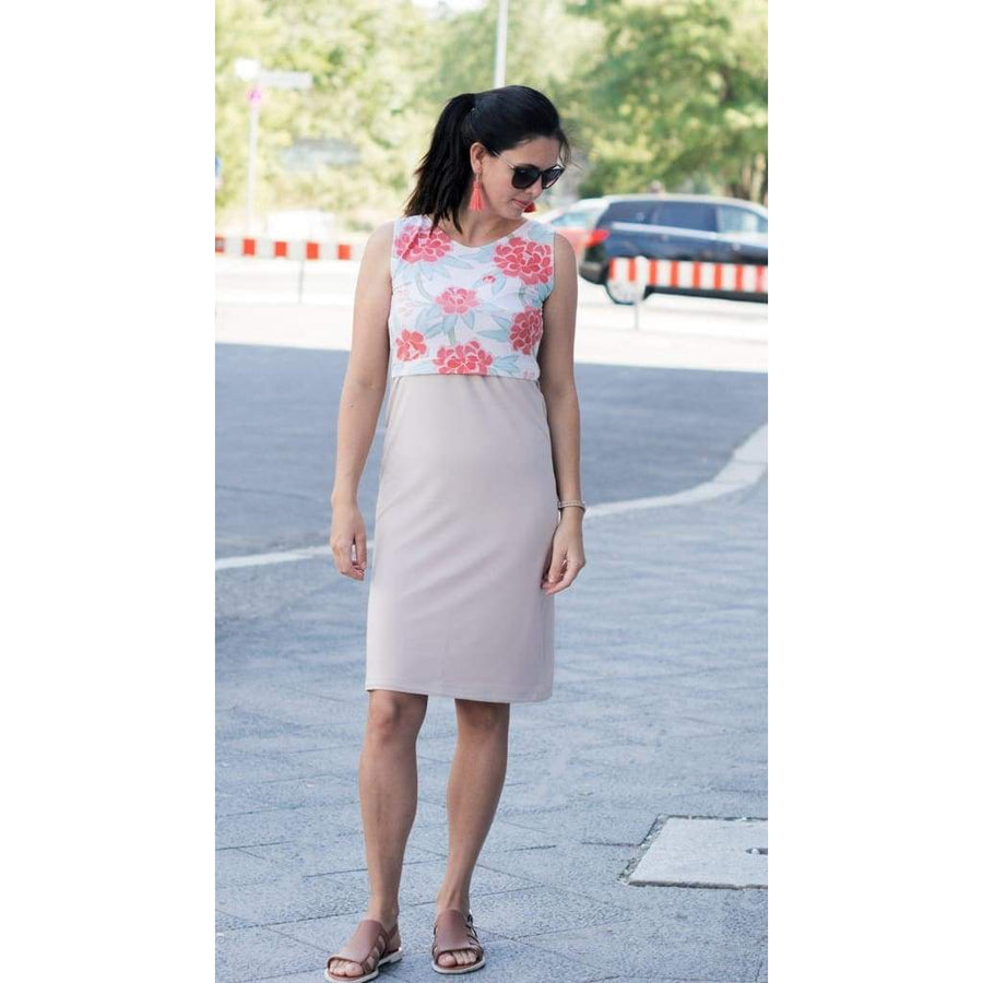 Floral Maternity Dress In Shades Of Mint And Coral Colours - Maternity & Nursing Dress