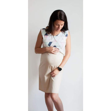 Maternity And Nursing Dress For Breastfeeding With A Pastel Geometric Pattern - Maternity & Nursing Dress