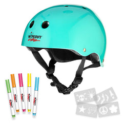 Wipeout dry erase helmet with markers and stencils (Teal)