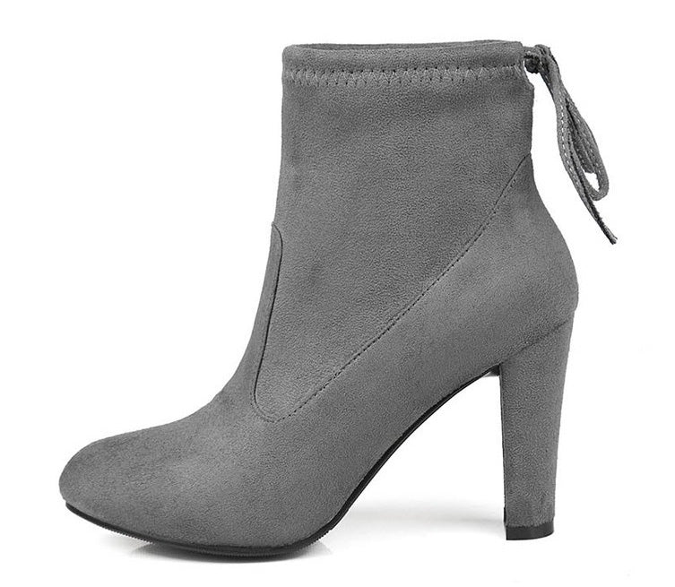 Grey Round Toe High Heel Lace-up Ankle Boots