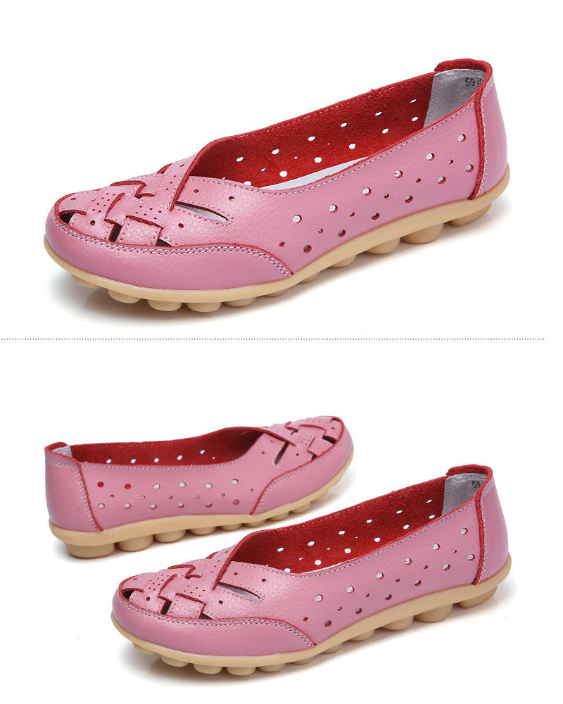 beautiful pink breathable leather nodule shoe