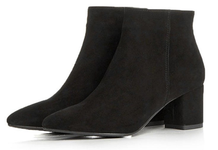 black suede zipper ankle boots