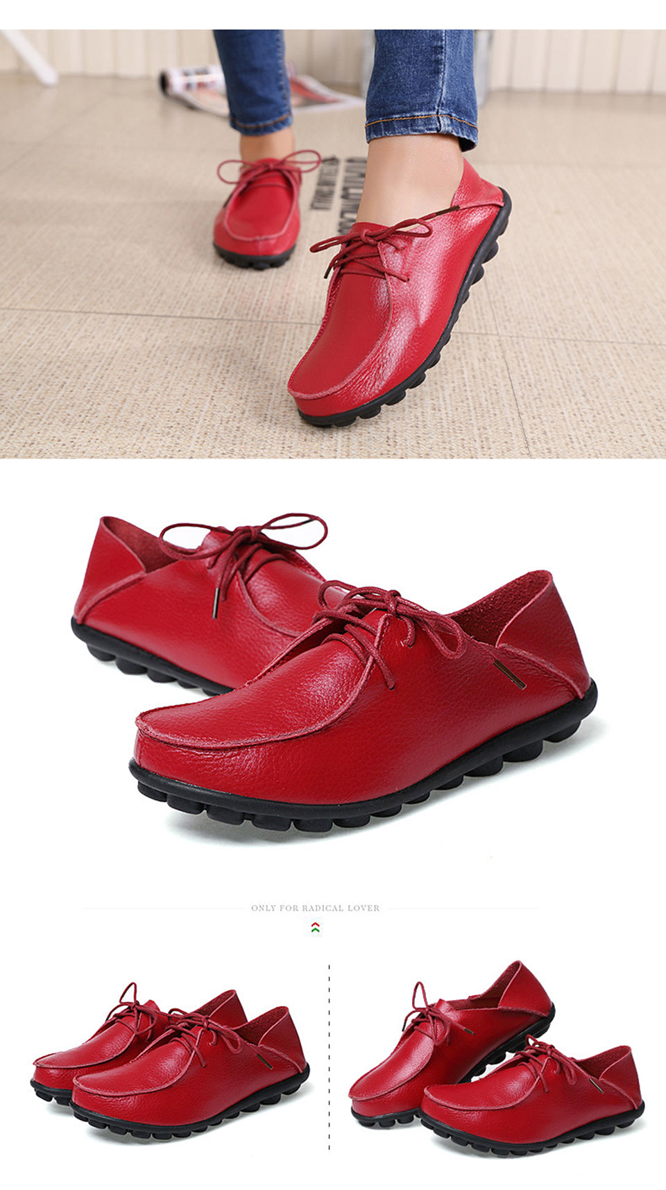 bright red lace up leather shoes with black nodulated grippy base 01