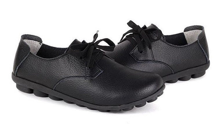 classic black leather lace up comfortable womens shoes with black nodule soles see the quality