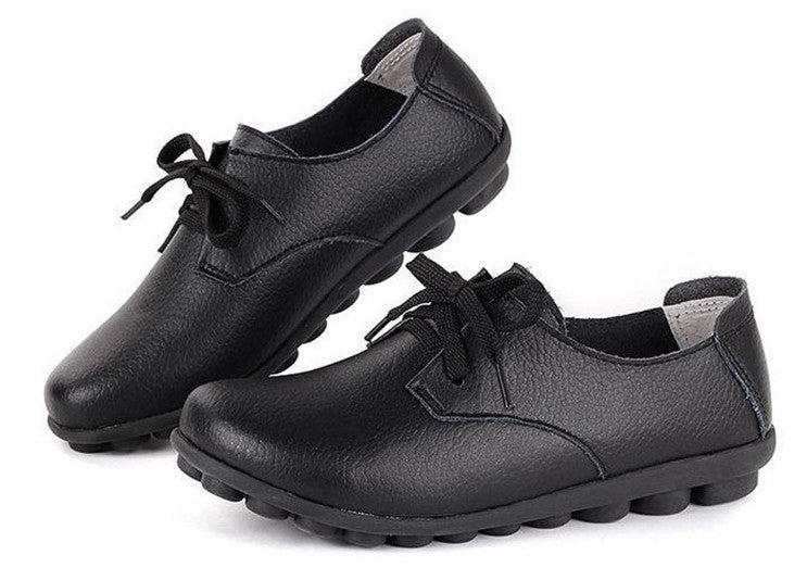 classic black leather lace up comfortable womens shoes with black nodule soles the look perfect