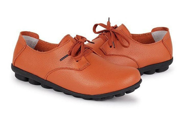 classic orange leather lace up comfortable womens shoes with black nodule soles see the quality