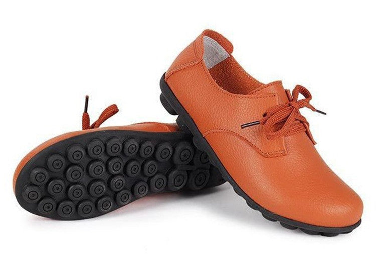 classic orange leather lace up comfortable womens shoes with black nodule soles the look perfect