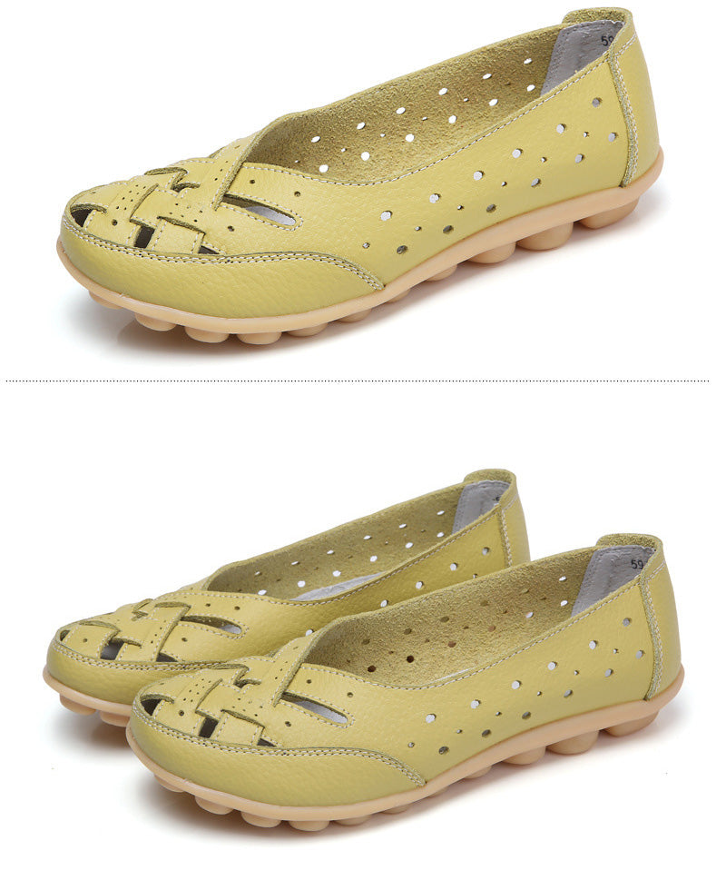 delicious lemon leather lattice nodule shoe with breathable style