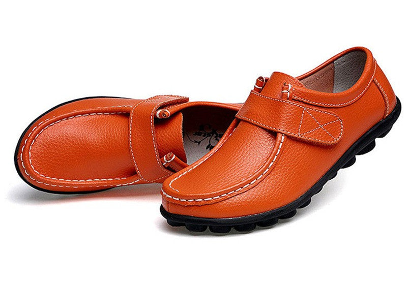 how terrific orange leather womens shoes with black rubber sole nodules