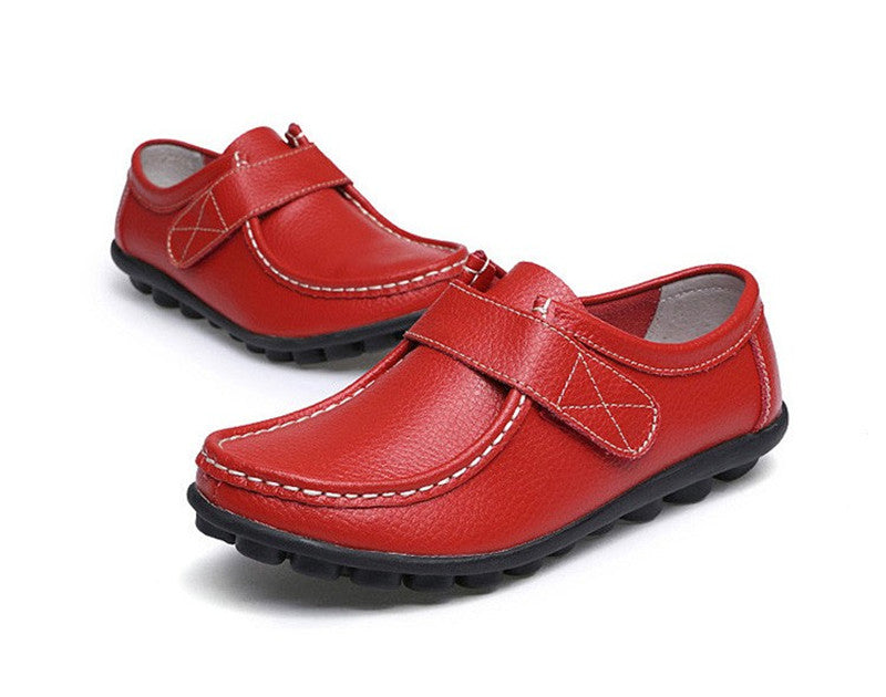 how terrific red leather womens shoes with black rubber sole nodules