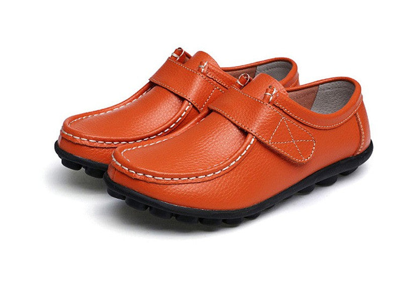 how wonderful orange leather womens shoes with black rubber sole nodules