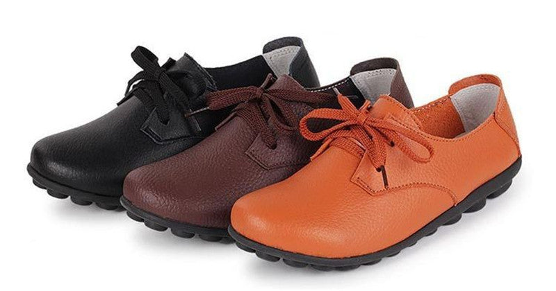 lace up nodule shoes with black bases are the best in orange brown and black