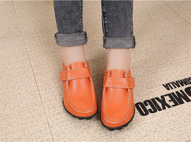 lovely orange leather womens shoes with black rubber sole nodules