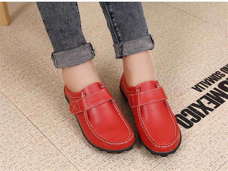 lovely red leather womens shoes with black rubber sole nodules