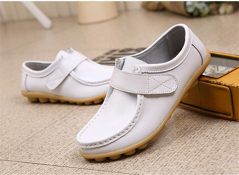 lovely white leather womens shoes with classic rubber sole nodules