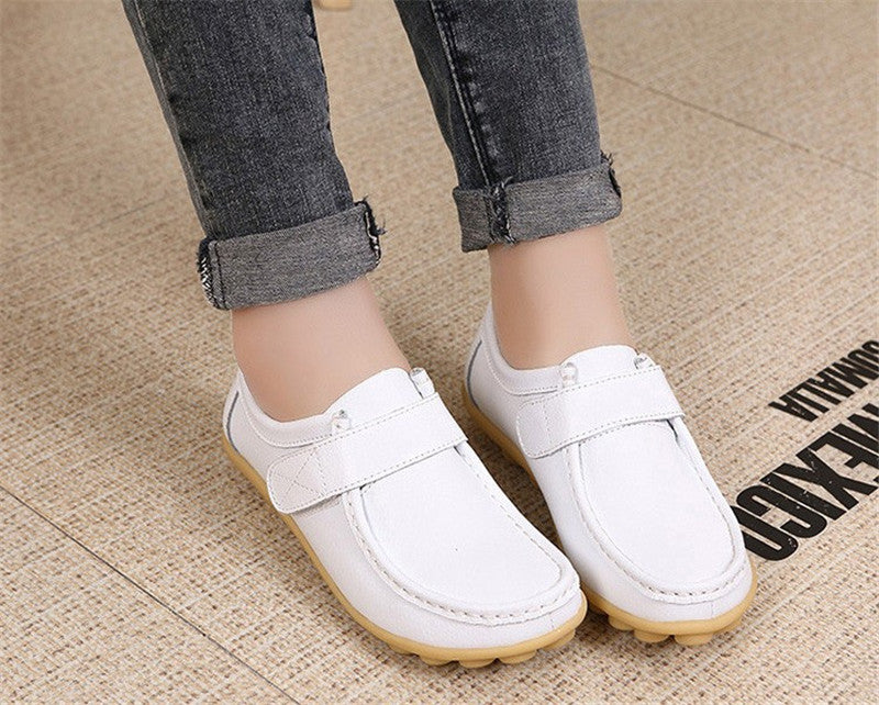 lovely white leather womens shoes with classic rubber sole nodules nice closeup looks great