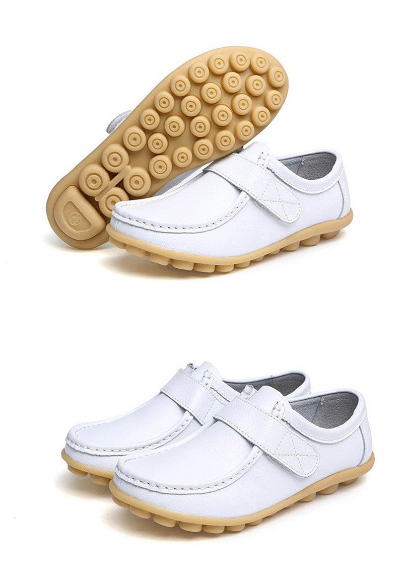 lovely white leather womens shoes with classic rubber sole nodules they look smart