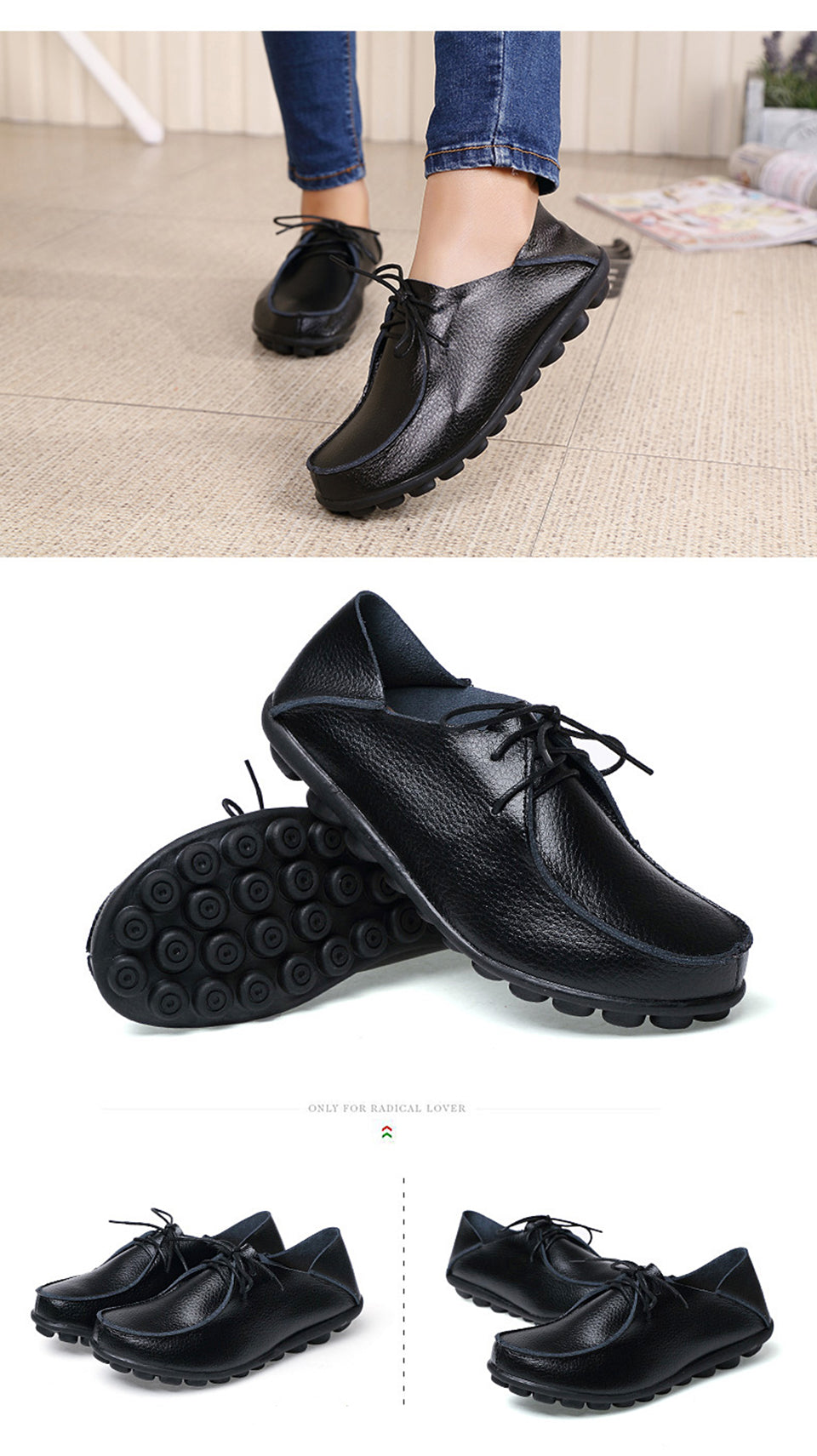 more black lace up leather shoes with black nodulated grippy base