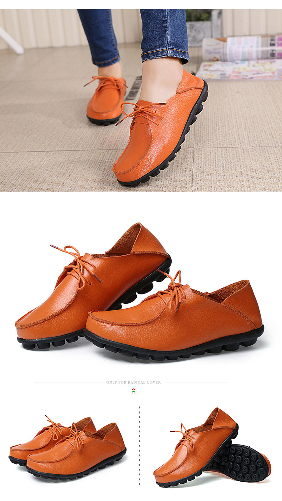 more orange lace up leather shoes with black nodulated grippy base 01