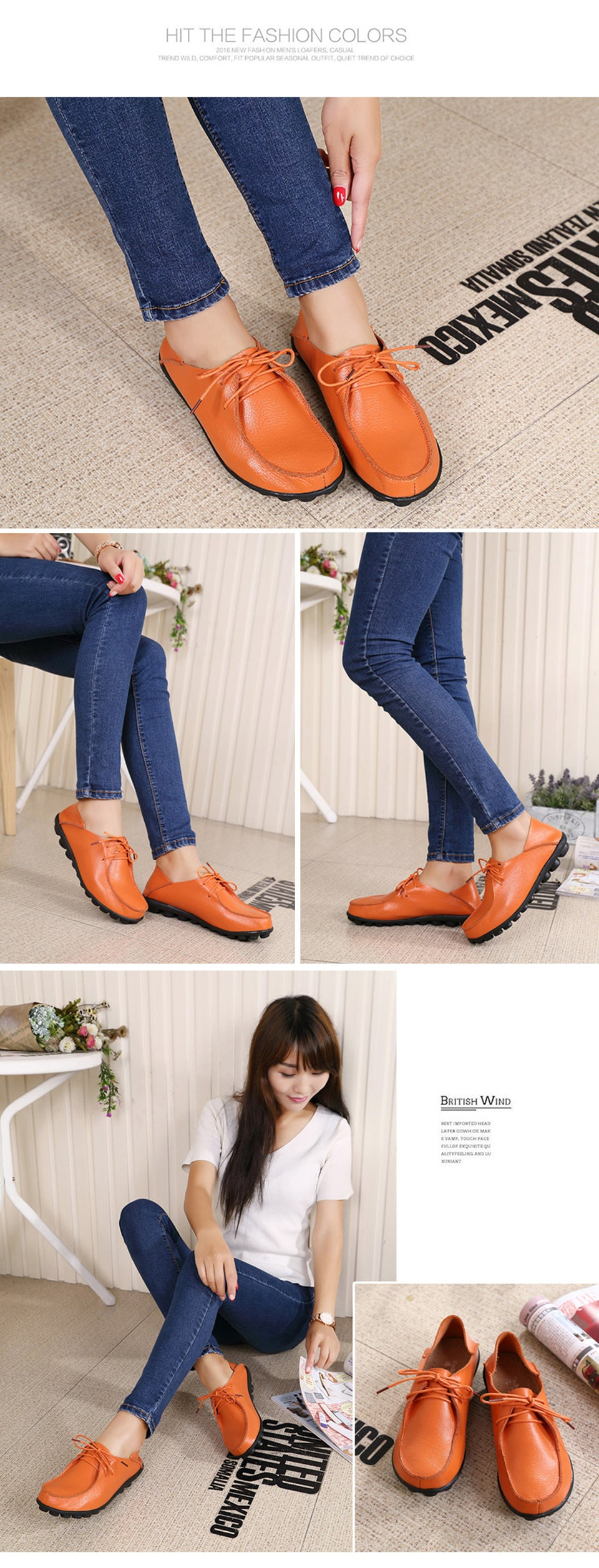 orange lace up leather shoes with black nodulated grippy base 01