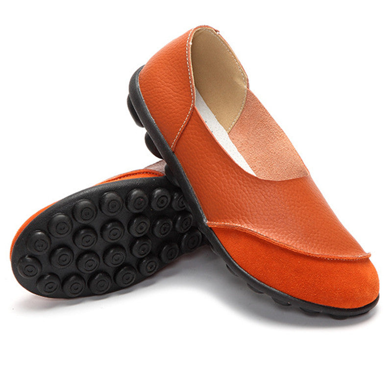 orange round toe suede nodule shoes