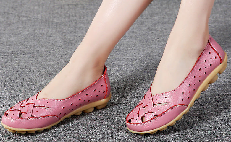 pink breathable leather nodule shoe shown by model