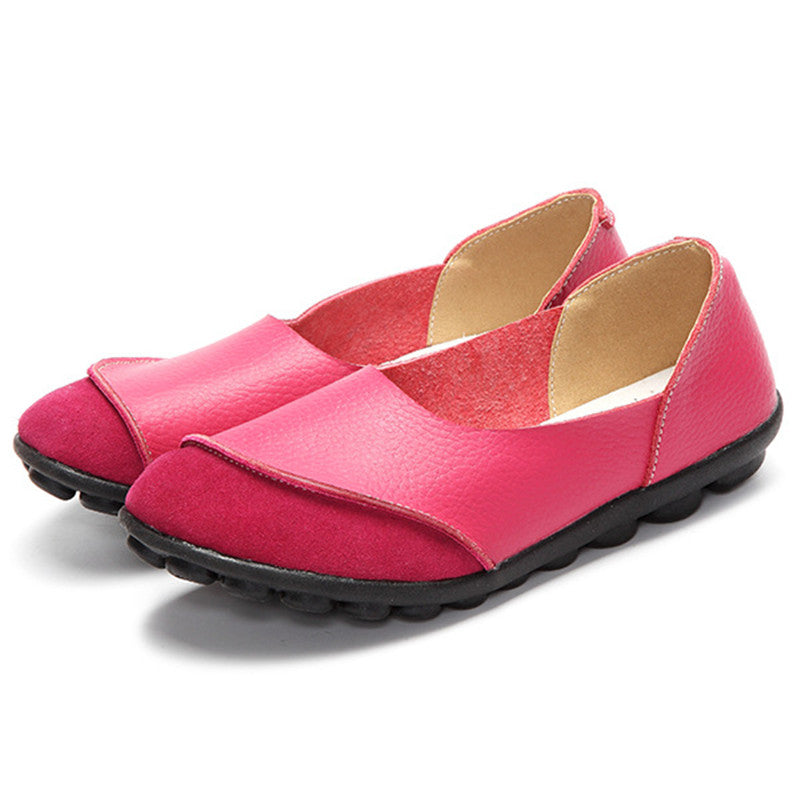 pink round toe suede nodule shoes