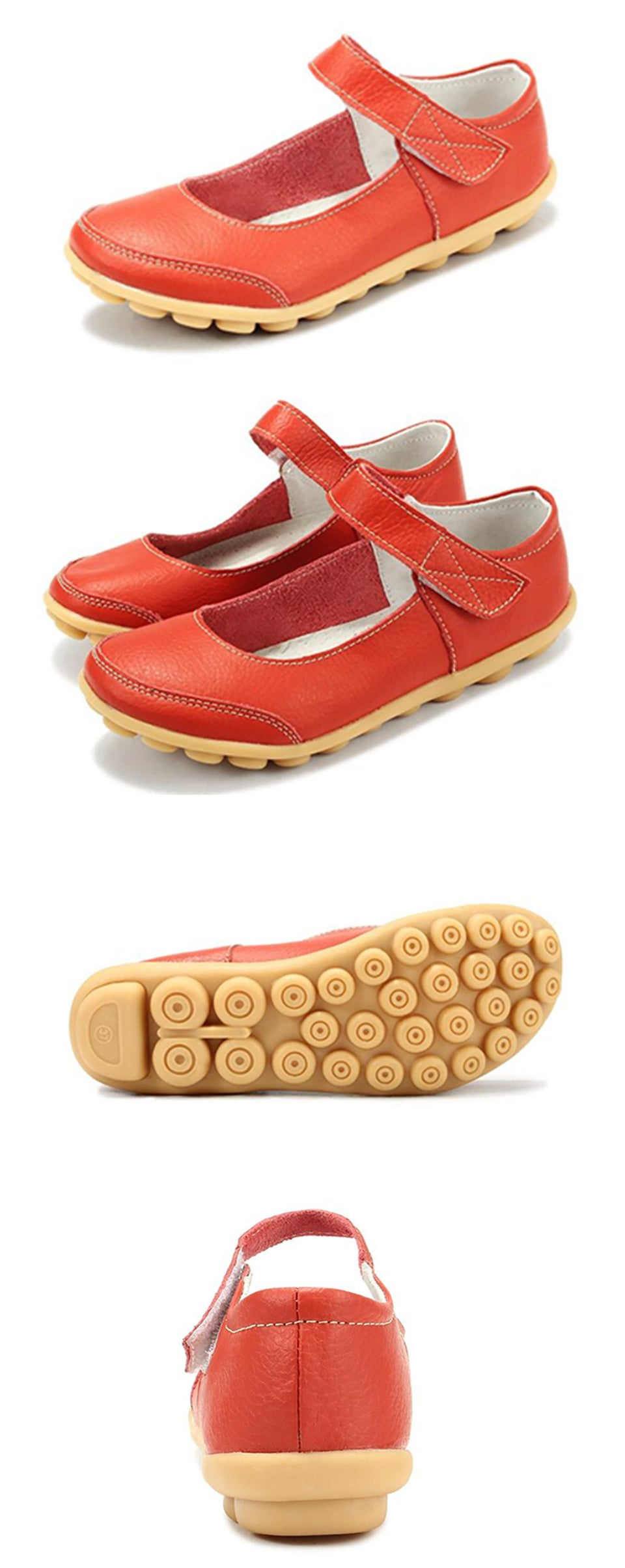 red mary jane nodule shoes with the velcro securing strap