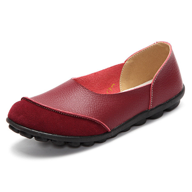 red round toe suede nodule shoes