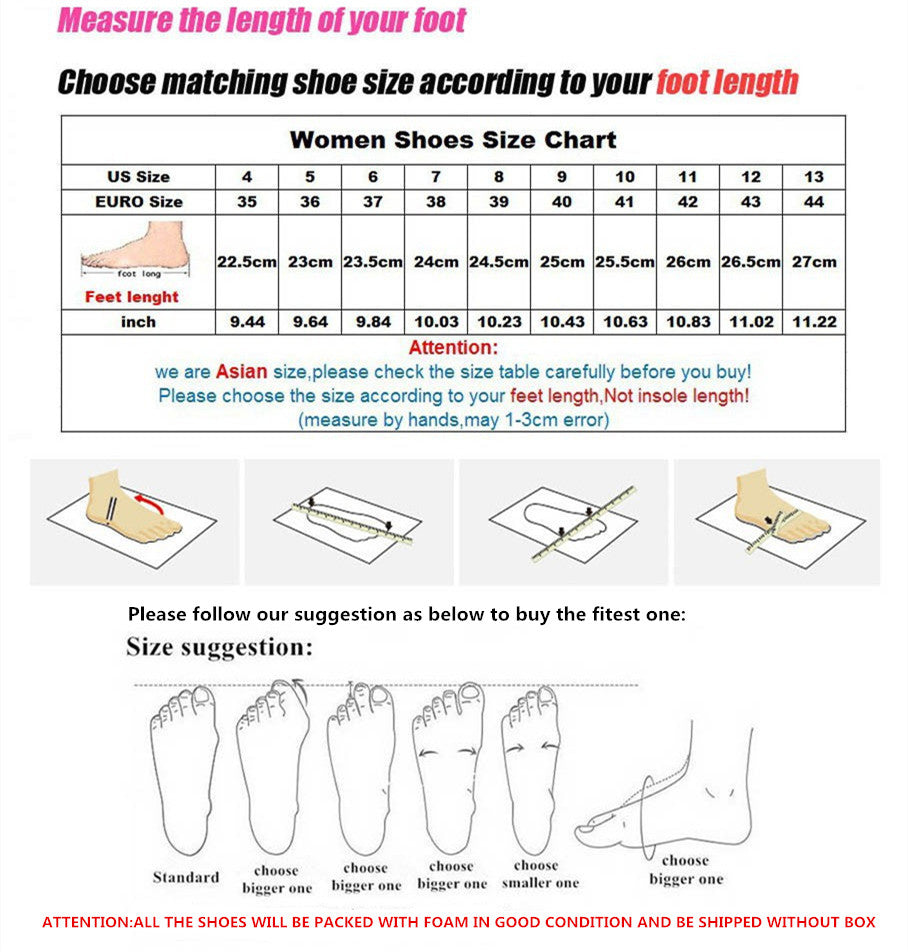 sizing guide for the bowtie toe nodule shoes