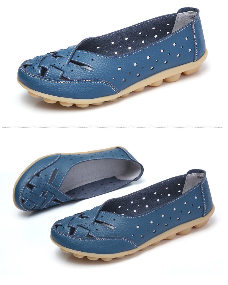 stylish blue leather nodule shoe with lattice upper over toes