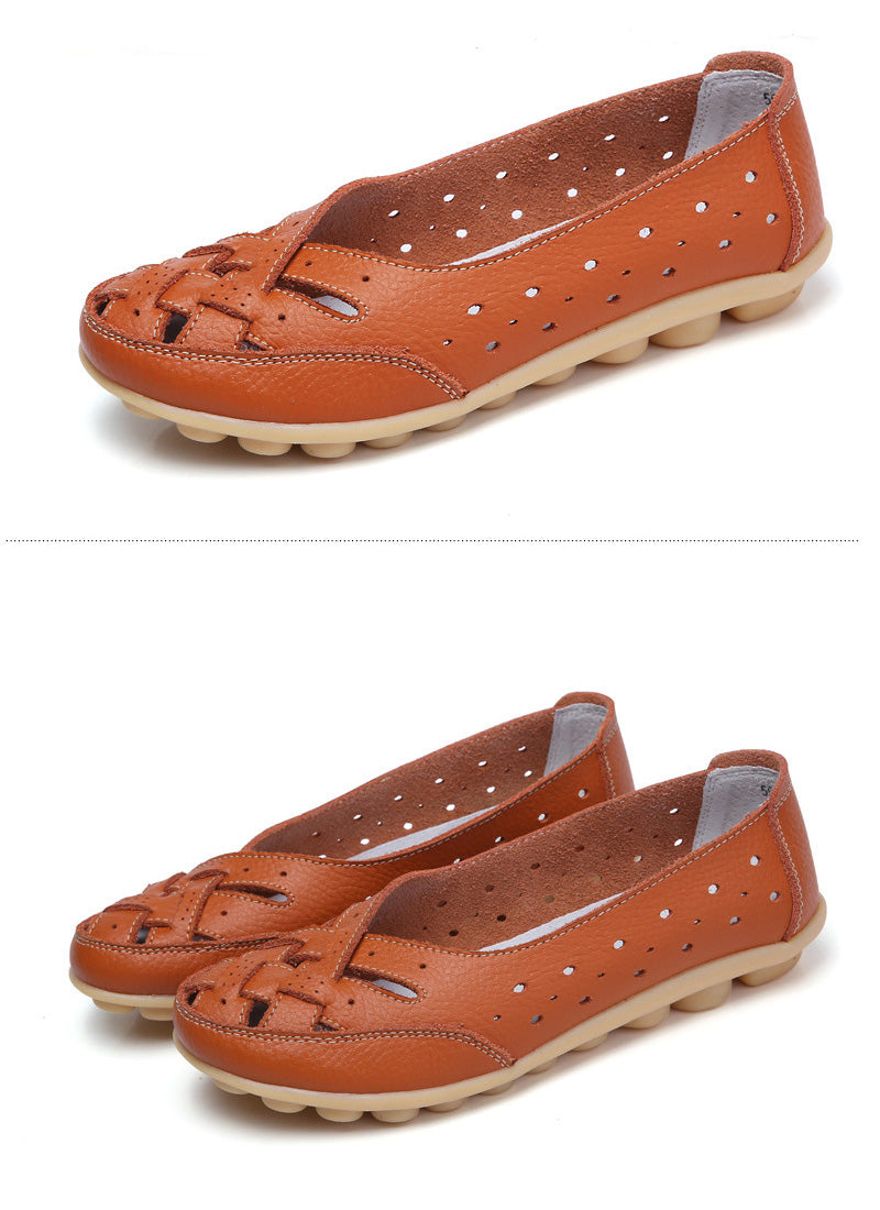 stylish orange leather nodule shoe with lattice upper over toes