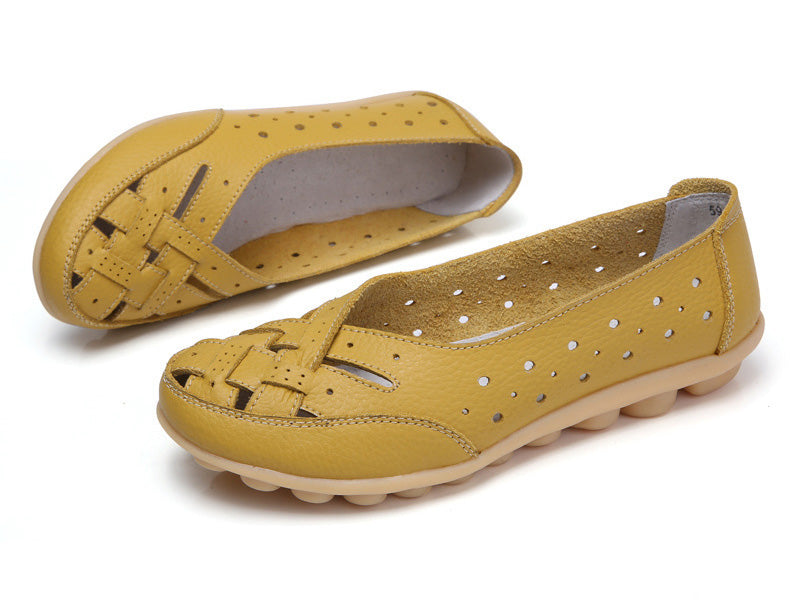 beautiful yellow breathable leather nodule shoe