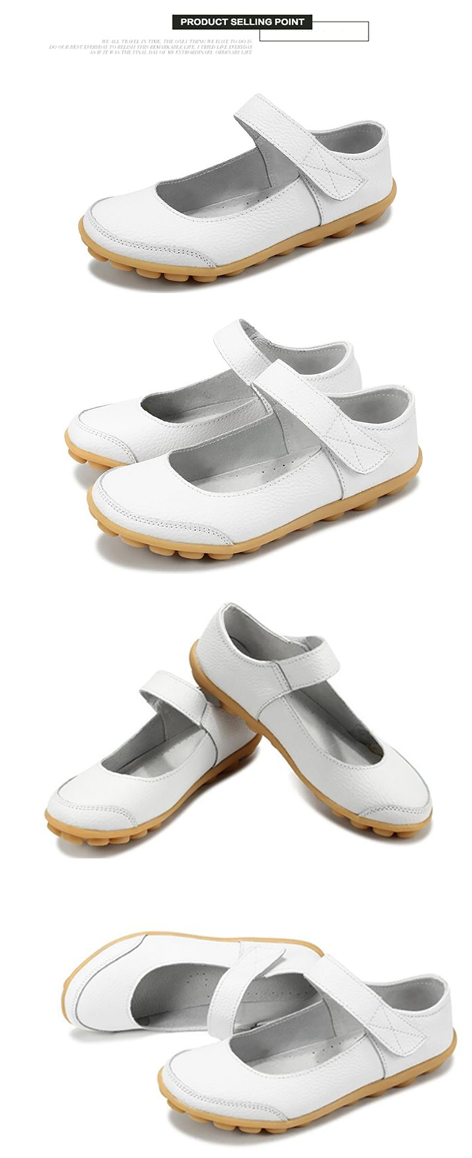 white mary jane nodule shoes with the velcro securing strap