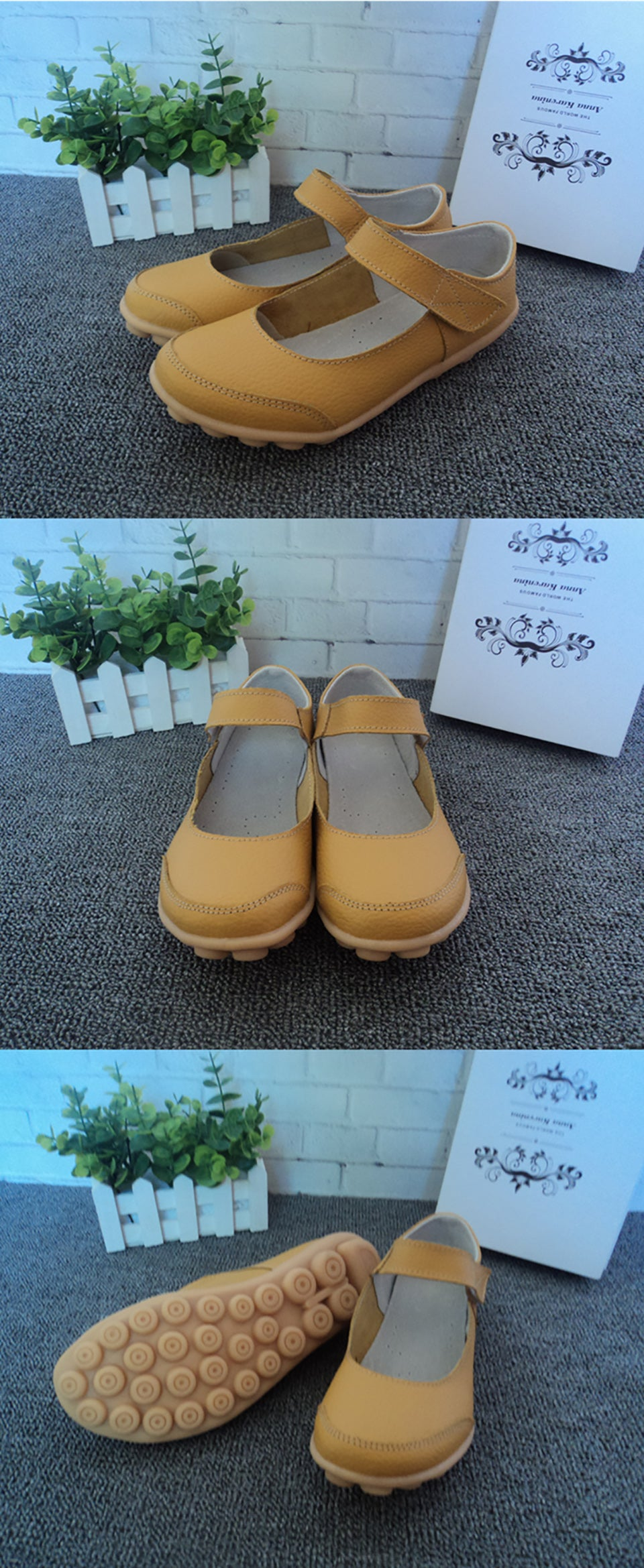 yellow mary jane nodule shoes with the velcro securing strap