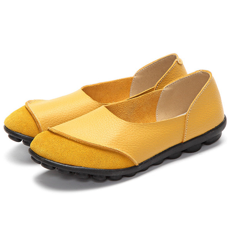 yellow round toe suede nodule shoes